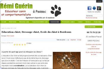 Cliquez pour visiter la page Ecole chiot à Bordeaux.