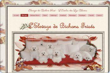 Cliquez pour visiter la page Elevage de bichons frisés de L'Enclos des Lys Blancs.
