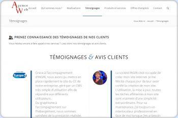Cliquez pour visiter la page Témoignages clients.