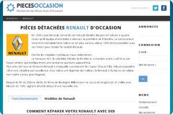 Cliquez pour visiter la page Pièces détachées d'occasion pour véhicules Renault.