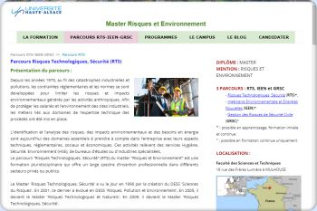 Cliquez pour visiter la page Parcours Risques Technologiques, Sécurité (RTS).
