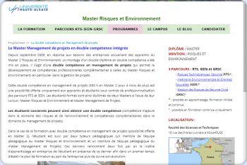 Cliquez pour visiter la page Parcours Ingénierie Environnementale et Energies Nouvelles.