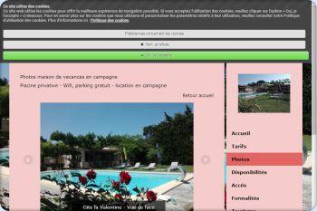 Cliquez pour visiter la page Photo de la maison de vacances.